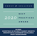 Frost & Sullivan - 2020 Best Practices Award - Global Biometrics in Security Market Growth Innovation & Leadership Excellence Frost Radar Award
