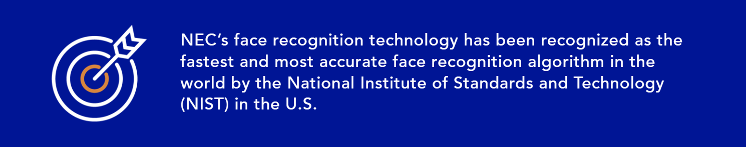 NEC's face recognition technology has been recognized as the fastest and most accurate face recognition algorithm in the world by the National Institute of Standards and Technology (NIST) in the U.S.