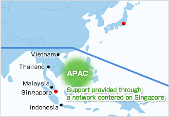 Support centered on NEC China/Support provided through a network centered on Singapore
