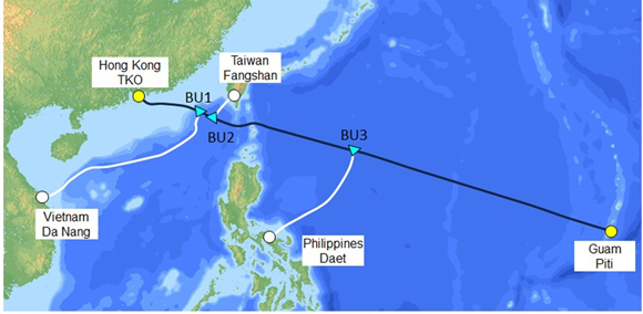 NEC supplies submarine cable for system connecting Hong Kong ... on world map with guam labeled, world map showing guam, world map guam wake island hawaii, world map guam geography, world map guam date, world map with guam and hawaii, world map saipan guam rota tinian, world map pacific islands guam,