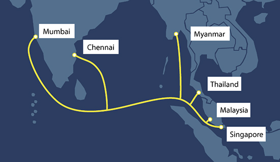 MIST Cable System to connect Singapore, Malaysia, Myanmar, Thailand and India 1